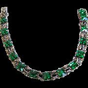 Sterling 1920s Deco Green Rhinestone Line Bracelet