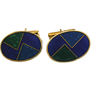 Scholtz (Scholz) and Lammel, Germany Purple, Blue, Green Modernist Enamel Cloisonne Cuff-links, c. 1960