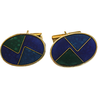 Scholtz (Scholz) and Lammel, Germany Purple, Blue, Green Modernist Enamel Cloisonne Cuff-links, c. 1960