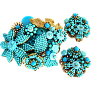 Stanley Hagler and Ian St. Gielar Vintage Turquoise seed bead pin and earring set