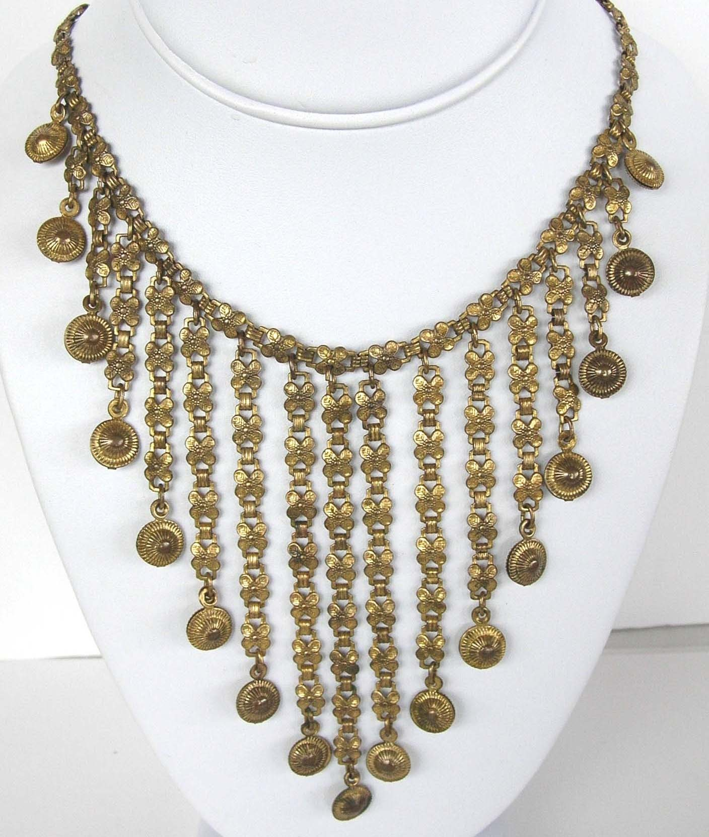 Vintage Etruscan Revival bib necklace, circa 1920-1930s