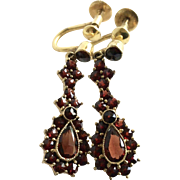 German Vintage Bohemian Garnet Dangle Earrings