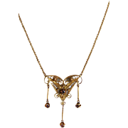 10 Karat Yellow Gold Vintage Filigree Pendant Necklace with Dangles