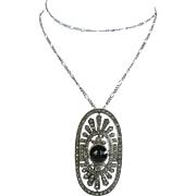 Art Deco Sterling, Marcasite and Onyx Pin/Pendant on Sterling Chain