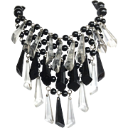 Black and Clear Three Tier Lucite Dangle Bib Necklace