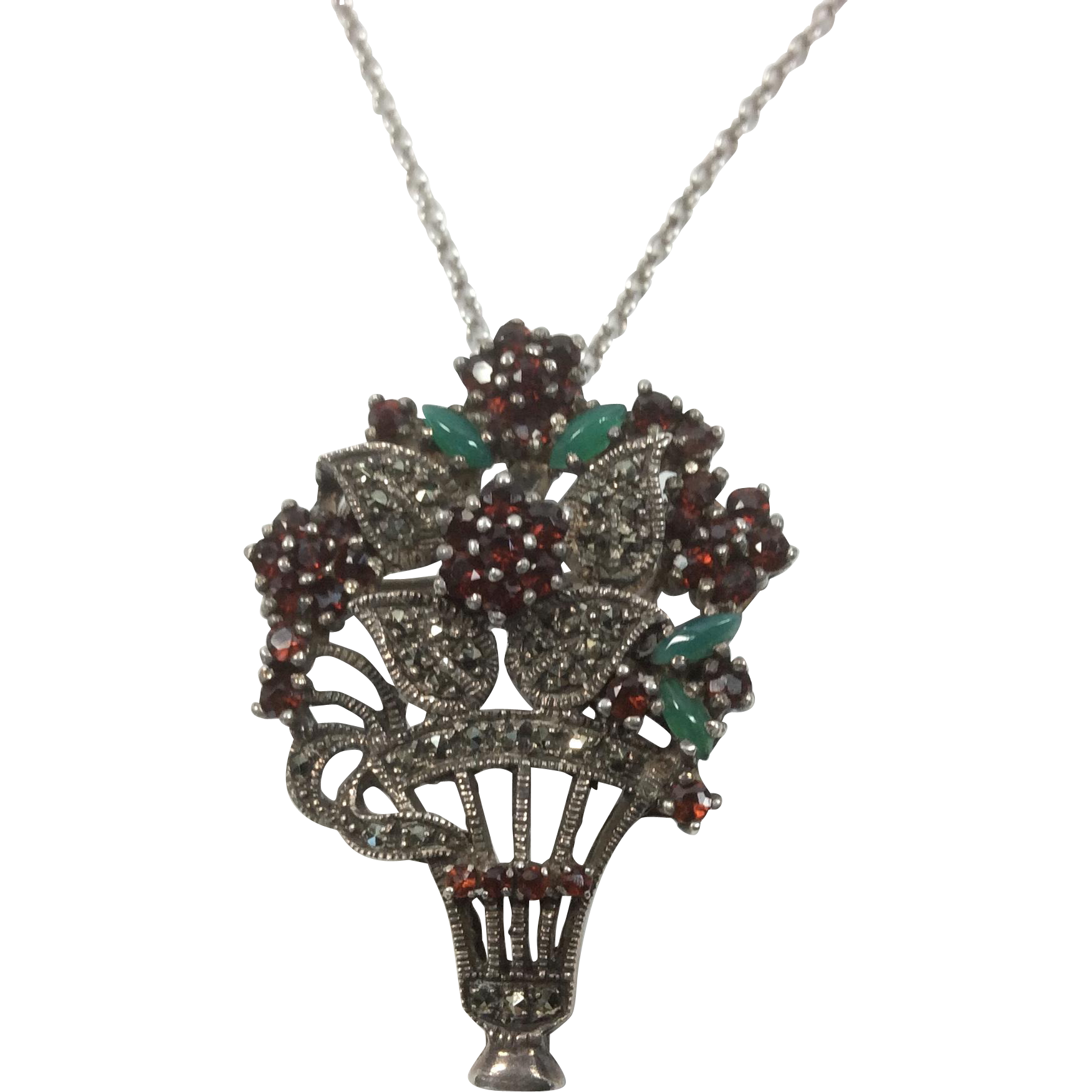 Sterling Garnet and Chrysoprase Flower Pendant and Pin on Sterling Chain