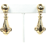 Vintage 14K Yellow Gold Victorian Revival Style Articulated Dangle Earrings