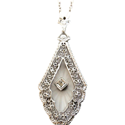 14K White Gold Art Deco/Edwardian Era Camphor Glass Diamond Pendant Necklace