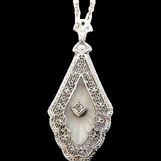 14K White Gold Art Deco/Edwardian Era Camphor Glass Diamond Pendant Necklace