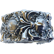 Whiting and Davis Silver-tone Repoussé Wide Cuff Bangle