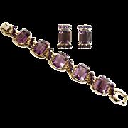 Vintage Juliana Amethyst Purple 5 Link Bracelet and Matching Earring Set