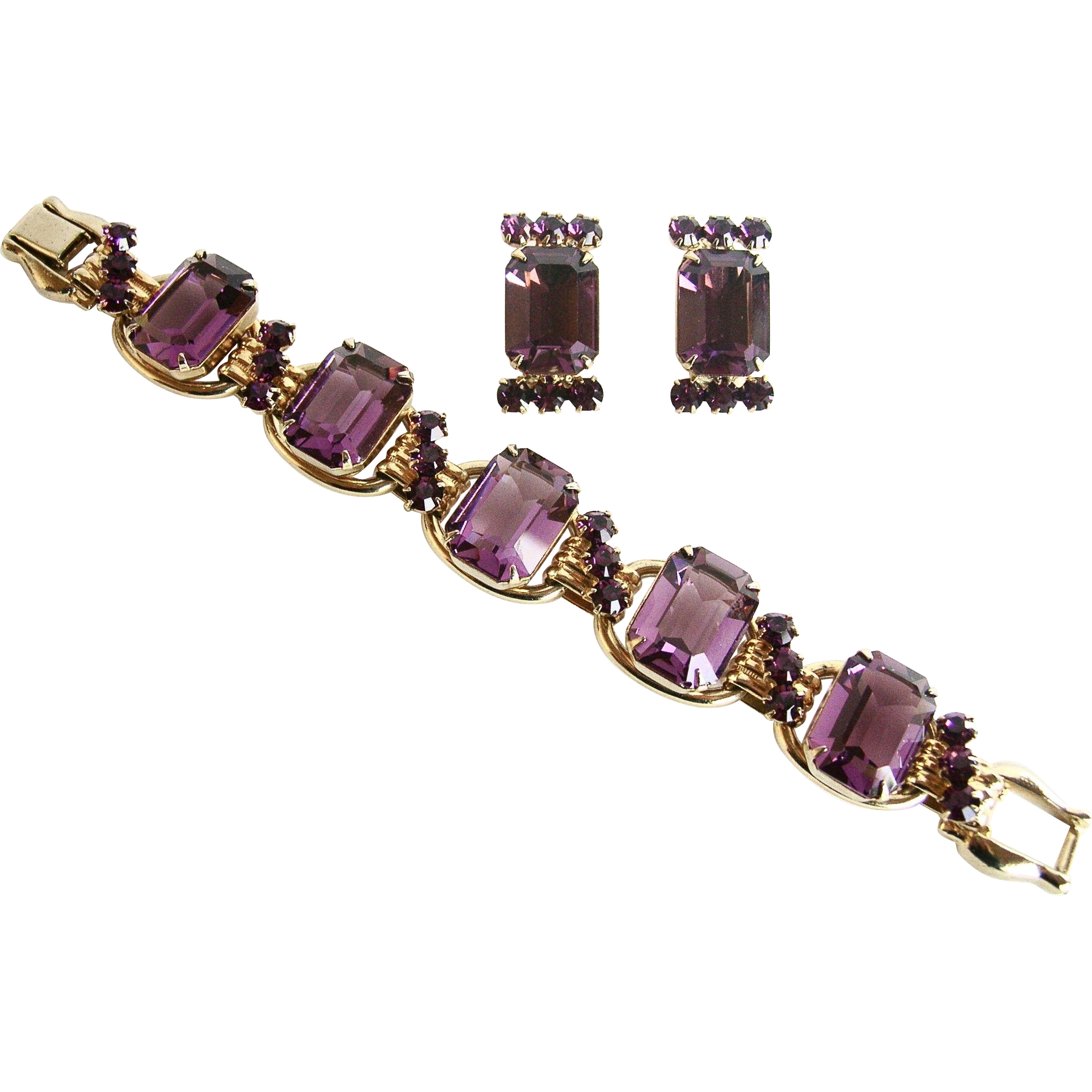 Vintage Juliana Amethyst Purple 5 Link Bracelet and Matching Earring Set