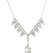 Edwardian Clear Rhinestone Necklace with Un-Foiled Faceted Glass Drop