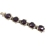 Purple Glass Renaissance Revival Link Bracelet