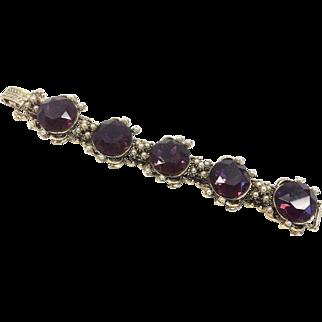 Purple Glass Renaissance Revival Link Bracelet