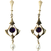 14K Yellow Gold Amethyst and Cultured Fresh Water Pearl Victorian Revival Earrings