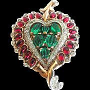 Trifari Alfred Philippe Moghul Heart, Scheherazade Leaf Pin Clip, 1949