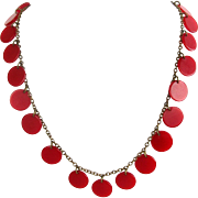 Red Bakelite Disc 1940s Necklace