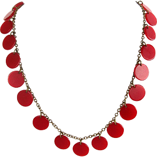 Red Bakelite Disc 1940s Necklace