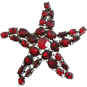 Vintage 1930s Red Oval Rhinestone Star or Starfish Pin