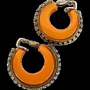 Vintage Butterscotch Bakelite Hoop Earrings with Brass Trim
