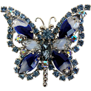 Vintage blue givré art glass marquis rhinestone butterfly pin