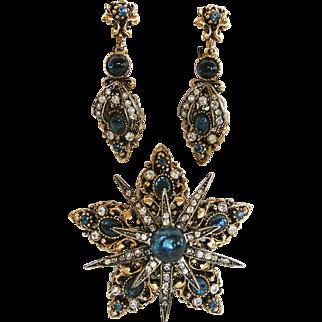 Art © Vintage Blue Renaissance Revival Pin and Earring Set