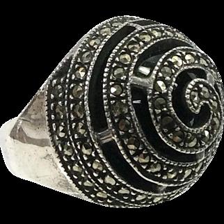 Judith Jack Vintage Sterling, Onyx, Marcasite Cocktail Ring