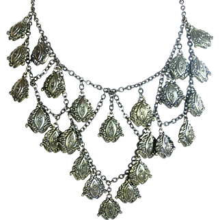Victorian Revival Repoussé Bib or Festoon Brass Necklace c. 1930s