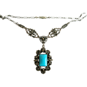 Czech  Vintage Turquoise Glass Pendant Necklace with Marcasites