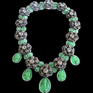 Louis Rousselet, Paris, France Poured Glass and Rhinestone Couture Necklace, Floral Design C. 1948-1950