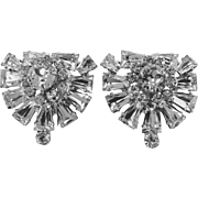 Vintage Keystone Baguette Rhinestone Duette Pin & Fur Clips, 1940s