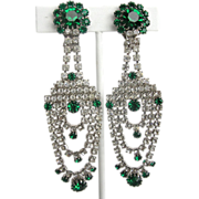 Green and Clear Rhinestone Shoulder Duster Vintage Dangle Earrings