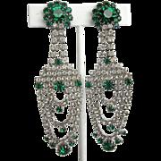 Green and Clear Rhinestone Shoulder Duster Vintage Dangle Earrings