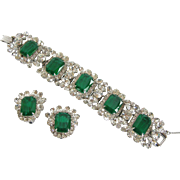 Vintage Juliana by DeLizza & Elster Flawed Emerald Glass Bracelet and Earring Set