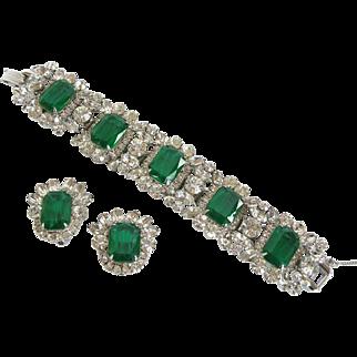 Vintage Juliana by DeLizza & Elster Flawed Emerald Glass Bracelet and Earring Set