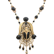 Czechoslovakia Egyptian Revival Black Scarab and Brass Necklace