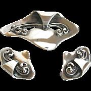 Stil Sterling Denmark Modernist  Pin & Earring Set