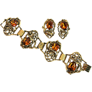 Vintage Renaissance Revival Chunky Bracelet and Earrings, Amber Glass Rhinestones