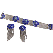 Turkish Byzantine Sterling and Blue Enamel mesh Bracelet and Earrings