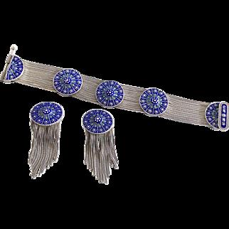 Turkish Byzantine Sterling and Blue Enamel mesh Bracelet and Earrings