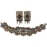 Czech Filigree Vintage Bracelet and Earrings, c. 1930