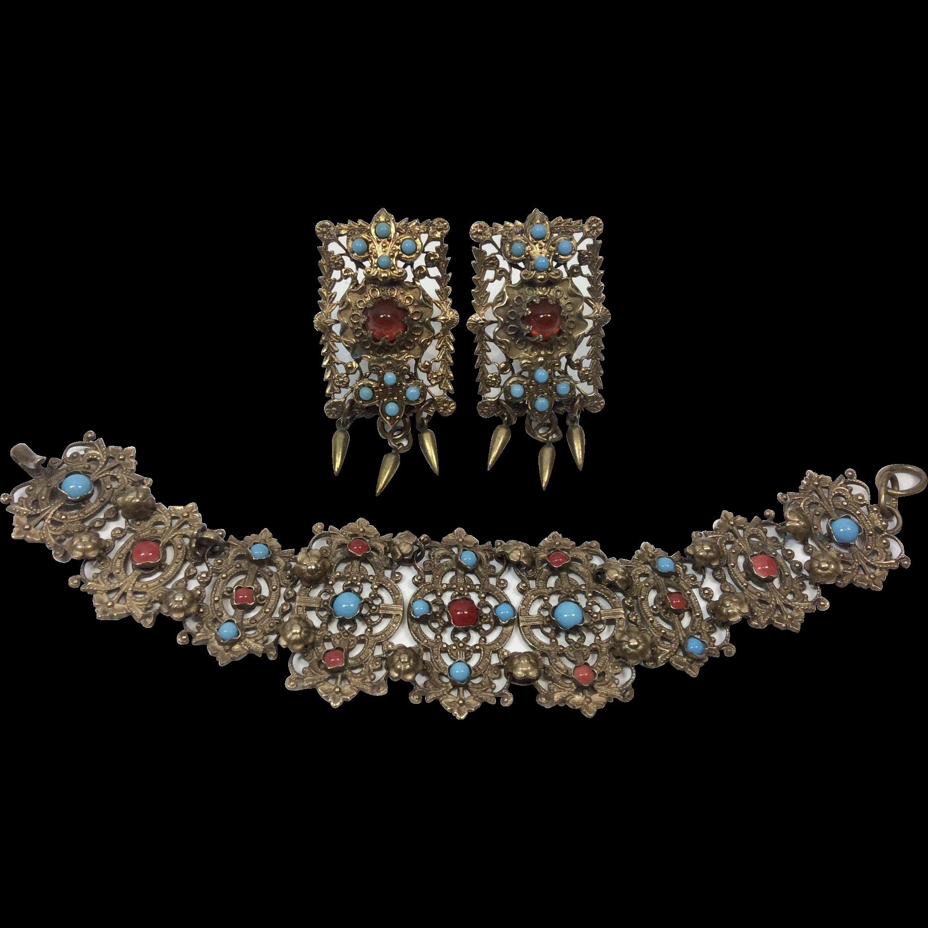 Czech Filigree Vintage Bracelet and Earrings, c. 1930