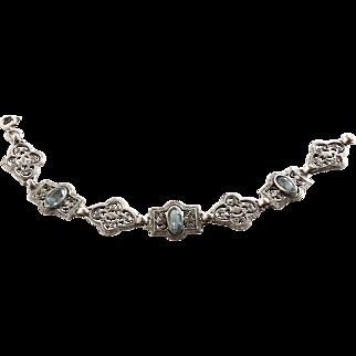 Sterling Edwardian Filigree Bracelet with Blue Bezel Set Glass Stones