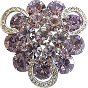 Weiss vintage violet rhinestone pin with clear rhinestone icing swirls