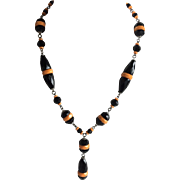Black and Orange Czech Faceted Glass Dangle Necklace, c. 1920s