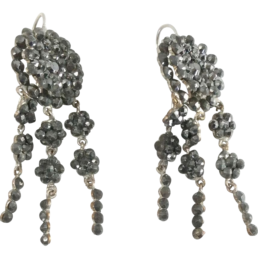 Antique Mid-Victorian Cut Steel Dangle Earrings