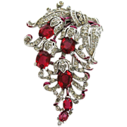 Trifari 1940 floral rhinestone & enamel Alfred Phillipe clip