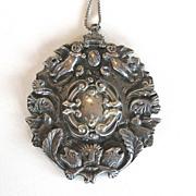Impressive 800 Silver Renaissance Revival Vintage Angel, Cherub Pendant