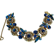 Vintage Juliana Blue Five Link Bracelet, Best Quality by DeLizza & Elster